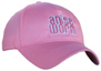 pink hat with pink and white Anise Worm® logo on front